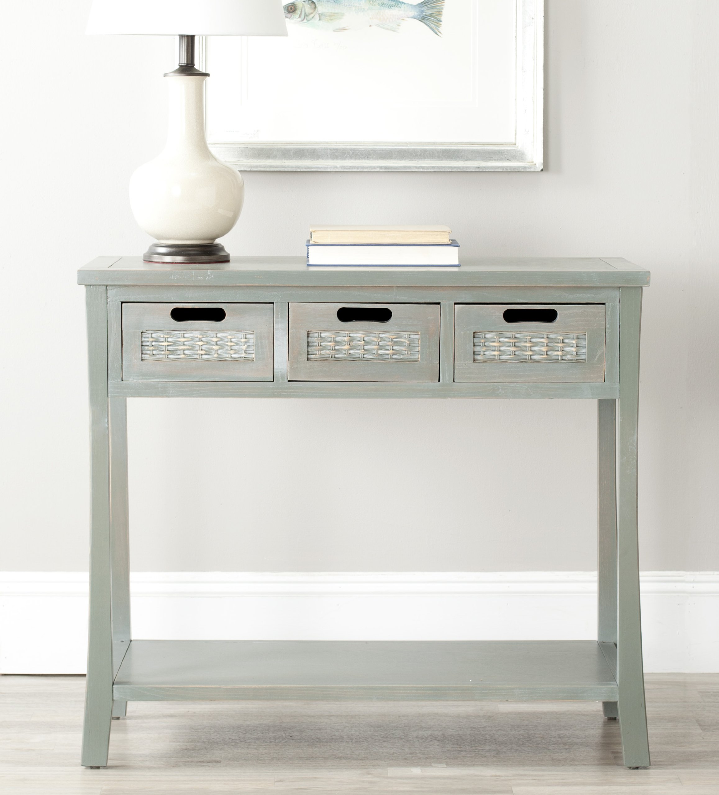 "Safavieh American Homes Collection Autumn French Grey 3-Drawer Console Table - The blue finish of this console table will create a perfect accent to your home This console table features 3 drawers measuring 9.1"" x 13"" x 4.7"" Crafted of solid elm wood - living-room-furniture, living-room, console-tables - 81rlyqaoOoL -"