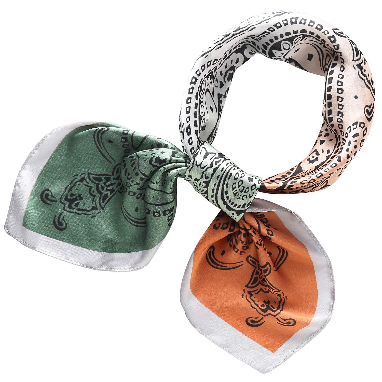 RIIQIICHY Pa/ñuelo de Seda para Mujer Pa/ñuelos para Cuello Colores y Dise/ños Variados 70 x 70 cm