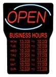Royal Sovereign LED Open Sign with Business Hours | Black Frame, Red Writing and Blue Wave Detail (RSB-1342E)