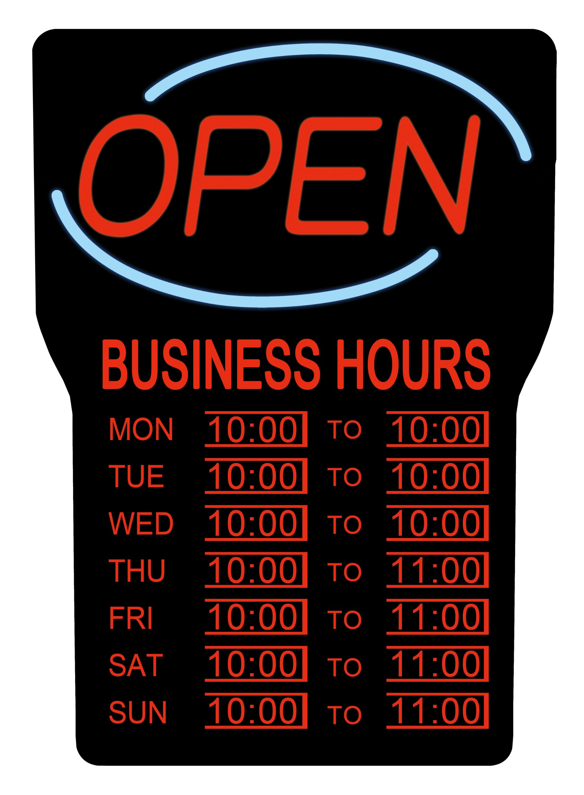 Royal Sovereign NEON LED Open Sign with Hours, Electric open sign advertisement for business, window, bar, wall, shop, hotel, Ultra-Bright, Flashing  (RSB-1342E)
