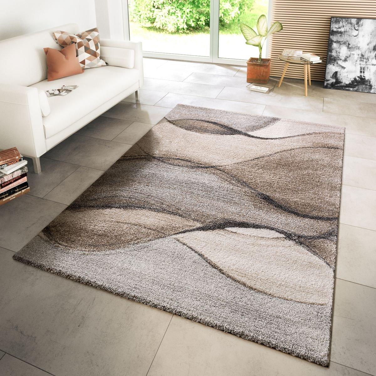 TT Home Teppich Modern Wohnzimmer Webteppich Modern Style Wellen Meliert Grau Beige Creme, Größe 160x230 cm