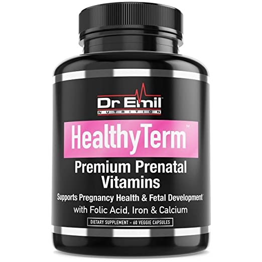 Dr. Emil - Prenatal Vitamins for Fetal and Pregnancy Health with Folic Acid, Iron, Calcium and Antioxidants - Non-GMO, Gluten and Dairy Free (60 Vegetarian Capsules)