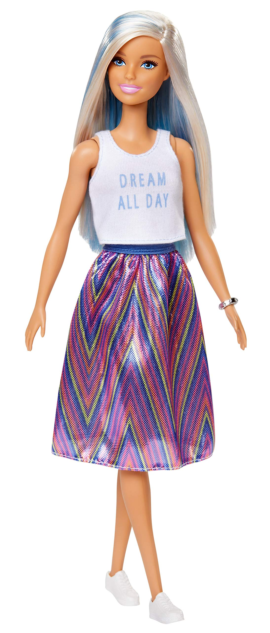 Barbie Fashionistas Doll with Long Blue and Platinum Blonde Hair Wearing Dream All Day Tank, Striped Skirt and Accessories, for 3 to 8 Year Olds
