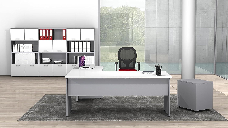 Fumu Scrivania Ufficio Angolare L160x80//P180x60//H72 con Allungo Laterale DX//SX Vari Colori