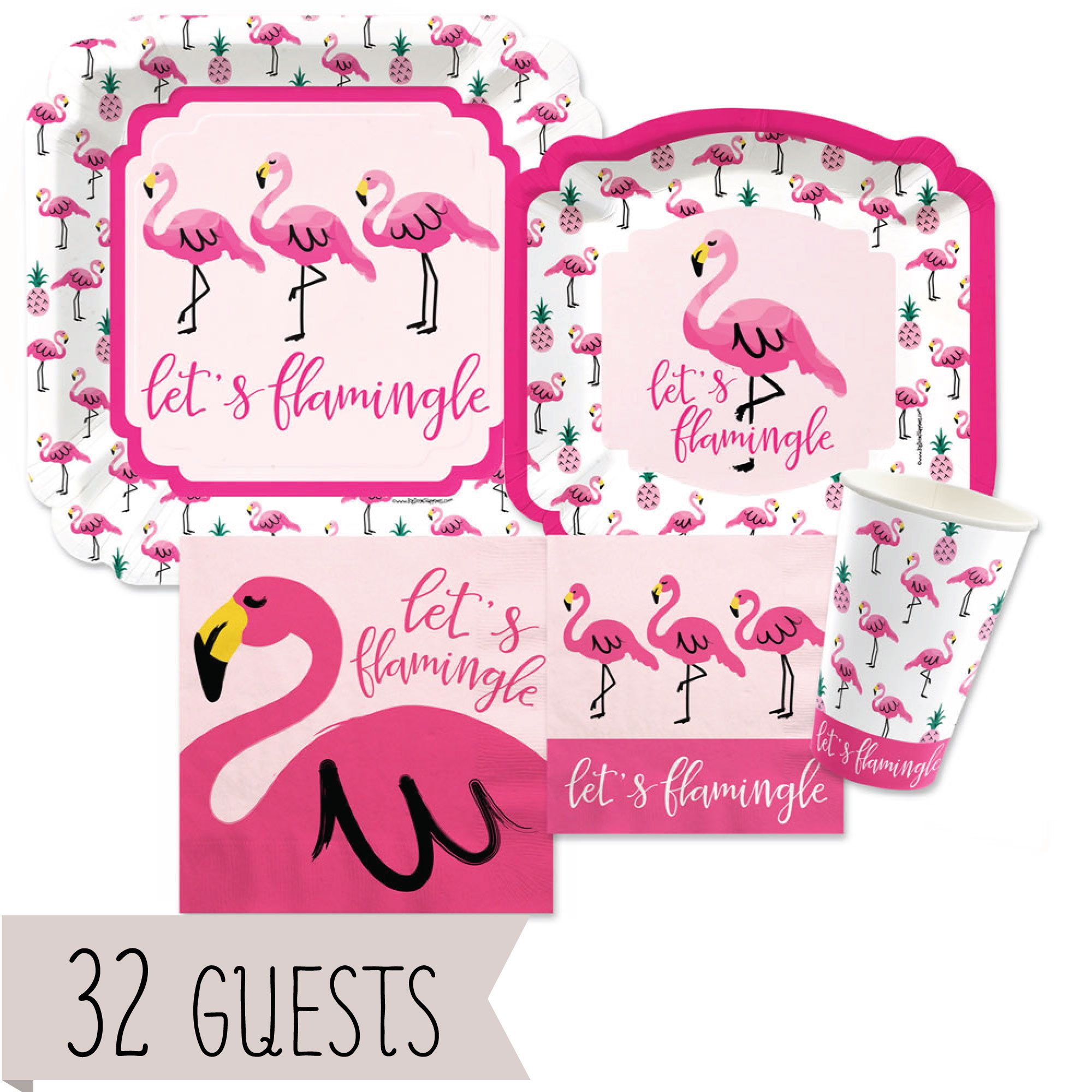 Big Dot of Happiness Pink Flamingo - Party Like a Pineapple - Tropical Summer Tableware Plates, Cups, Napkins - Bundle for 32