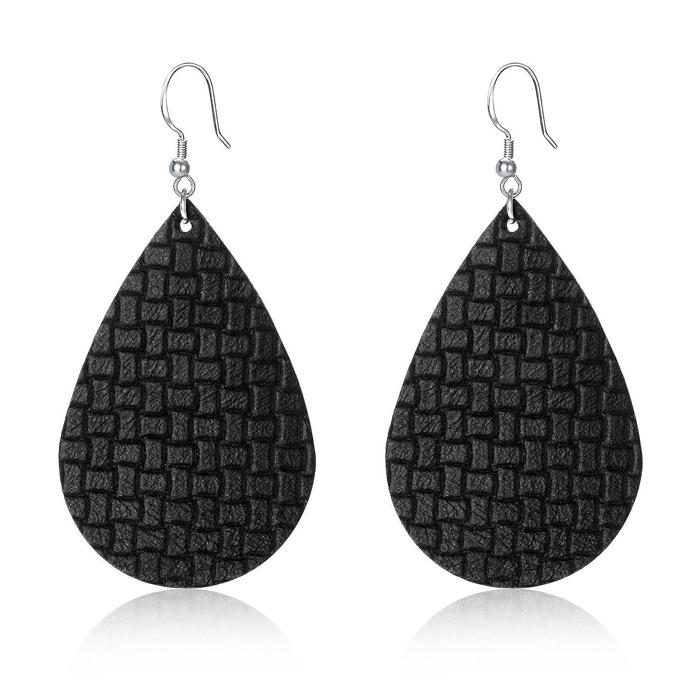 CULOVITY Leather Teardrop Earrings Handcrafted Unique Dangle Earring Jewelry for Women Girls