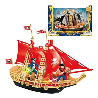 Mozlly Pirate Ship Boat Play Set with Lights & Sound Durable Colorful Educational Learning Creative Action Figure Toy Pretend Play Accessories Ideal Gift Toys Games 11.5 Inch Colors May Vary: Toys & Games