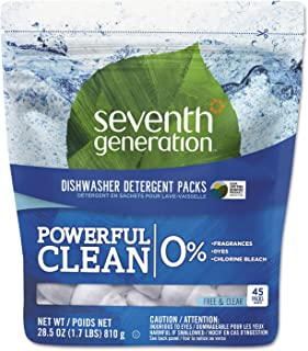 product image for Seventh Generation 22897 Natural Dishwasher Detergent Concentrated Packs Free & Clear, 45 Packets/PK