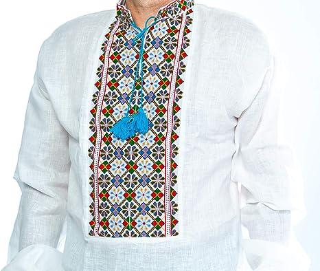 Traditional Ukrainian Shirt for Men Ukraininan Vishivanka Shirt Long Sleeve Linen Embriodered Sorochka Shirt Men/'s Vyshyvanka