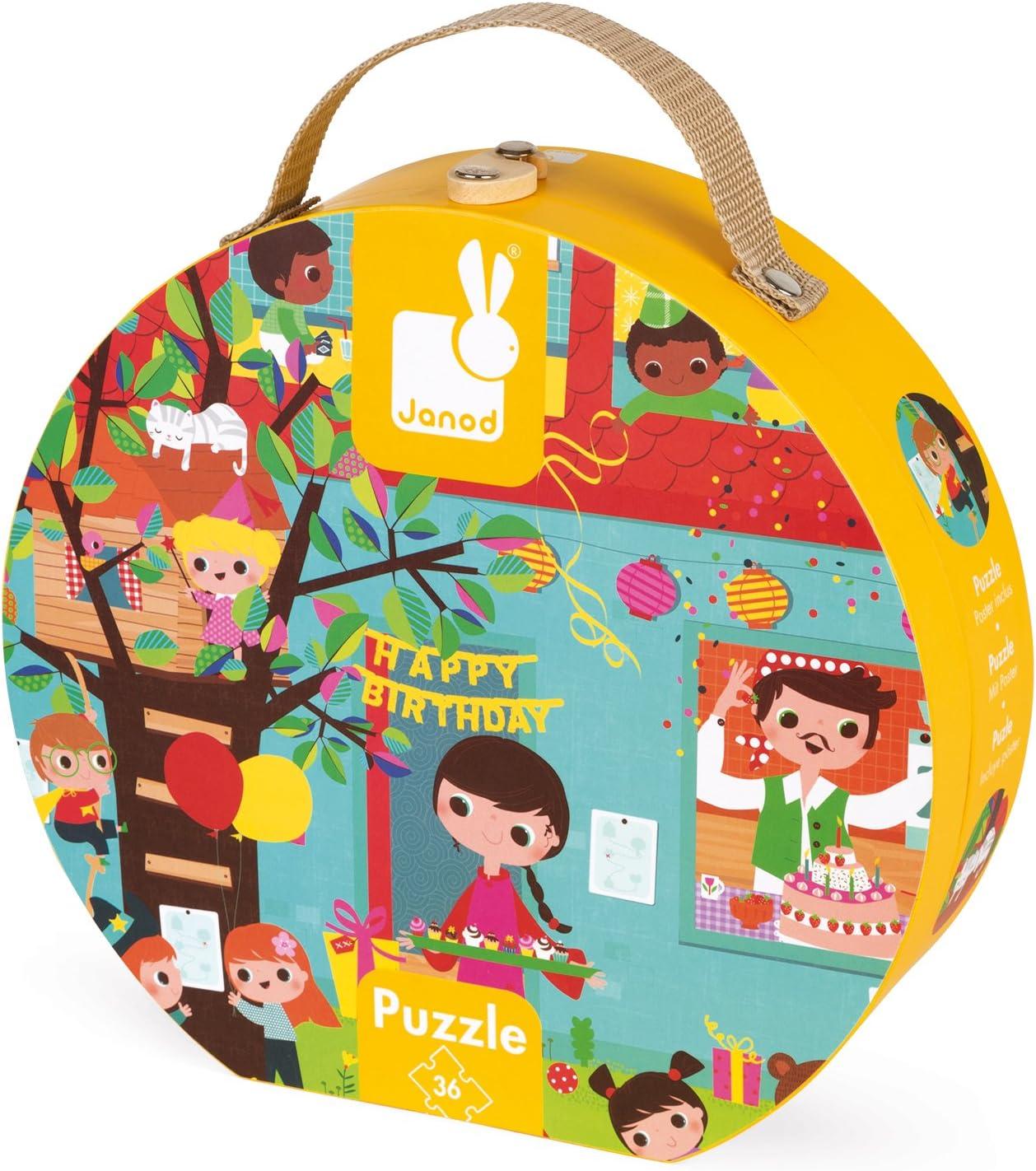 J02764 Multicolore 36 Pezzi in Valigetta Rotonda Janod- Festa di Compleanno Puzzle