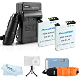 2 Pack Battery And Charger Kit For Nikon COOLPIX AW120 AW110 AW100 Waterproof Digital Camera Includes 2 Extended Replacement (1050Mah) EN-EL12 Batteries + Ac/Dc Travel Charger + FLOAT STRAP + Mini Tripod + MicroFiber Cleaning Cloth