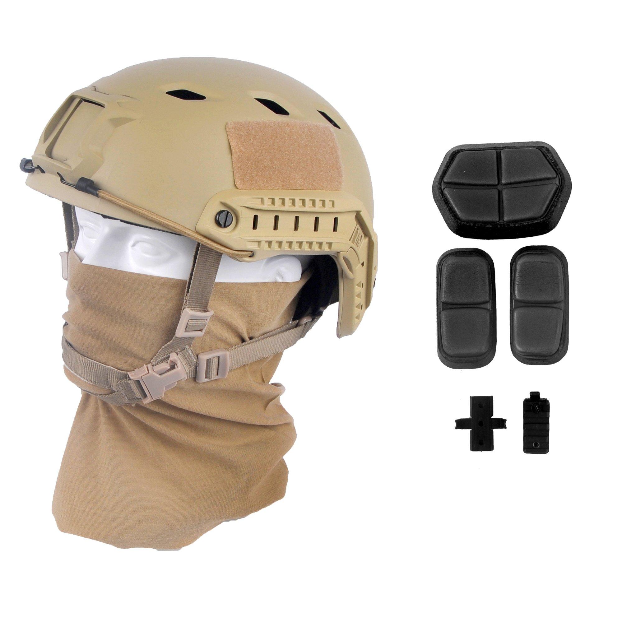 LOOGU Fast BJ Base Jump Military Helmet with 12-in-1 Headwear(DE) by LOOGU