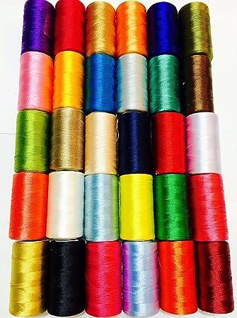 30 bobinas de hilo de bordar de seda de rayón para bordar, varios colores: Amazon.es: Hogar