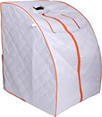 ALEKO PIN15SY Personal Folding Portable Home Infrared Sauna with Folding Chair and Foot Pad for Relaxation and Weight Loss 41 x 31 x 33 Inches Silver with Orange Trim