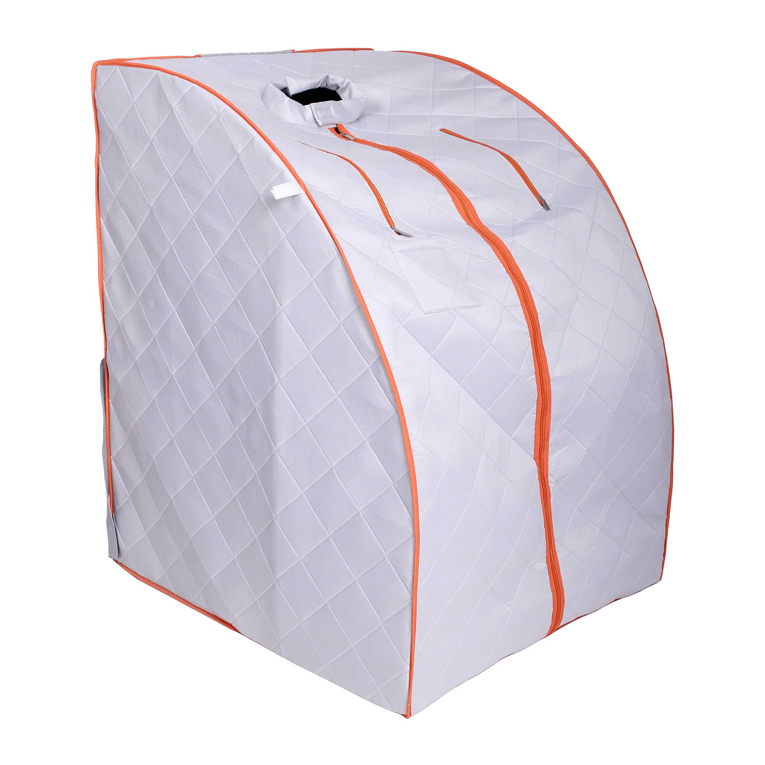 ALEKO PIN15SY Personal Folding Portable Home Infrared Sauna w/ Folding Chair and Foot Pad, Silver w/ Orange Trim Color