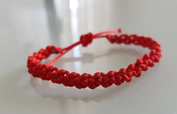 3a9e886cff41 Pulsera Roja de la Suerte en Macramé Pulseras Hilo Bisutería Macrame  Bracelet Good Luck