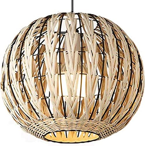 Contemporary Rustic Chandelier Bamboo Wicker Lighting Fixtures Rattan Shade Pendant Ceiling Light Fixture