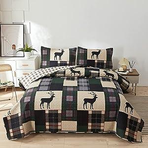 Lodge Quilt Set King Size Plaid Patchwork Rustic Cabin Bedding Moose Deer Printed Beige Gingham Grid Bedspread Coverlet Soft Lightweight Reversible All Season Bed Sheet, 1 Quilt 2 Pillow Shams