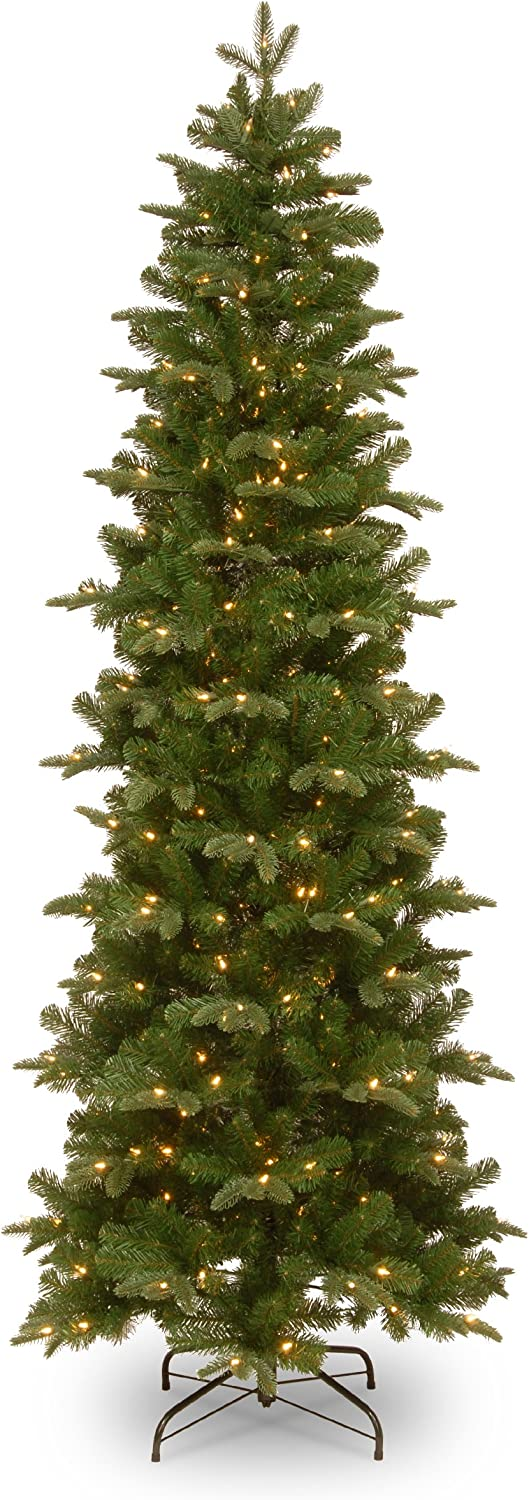 National Tree Company Pre-lit Artificial Christmas Tree | Includes Pre-strung White Lights and Stand | Prescott Pencil Slim - 7.5 ft