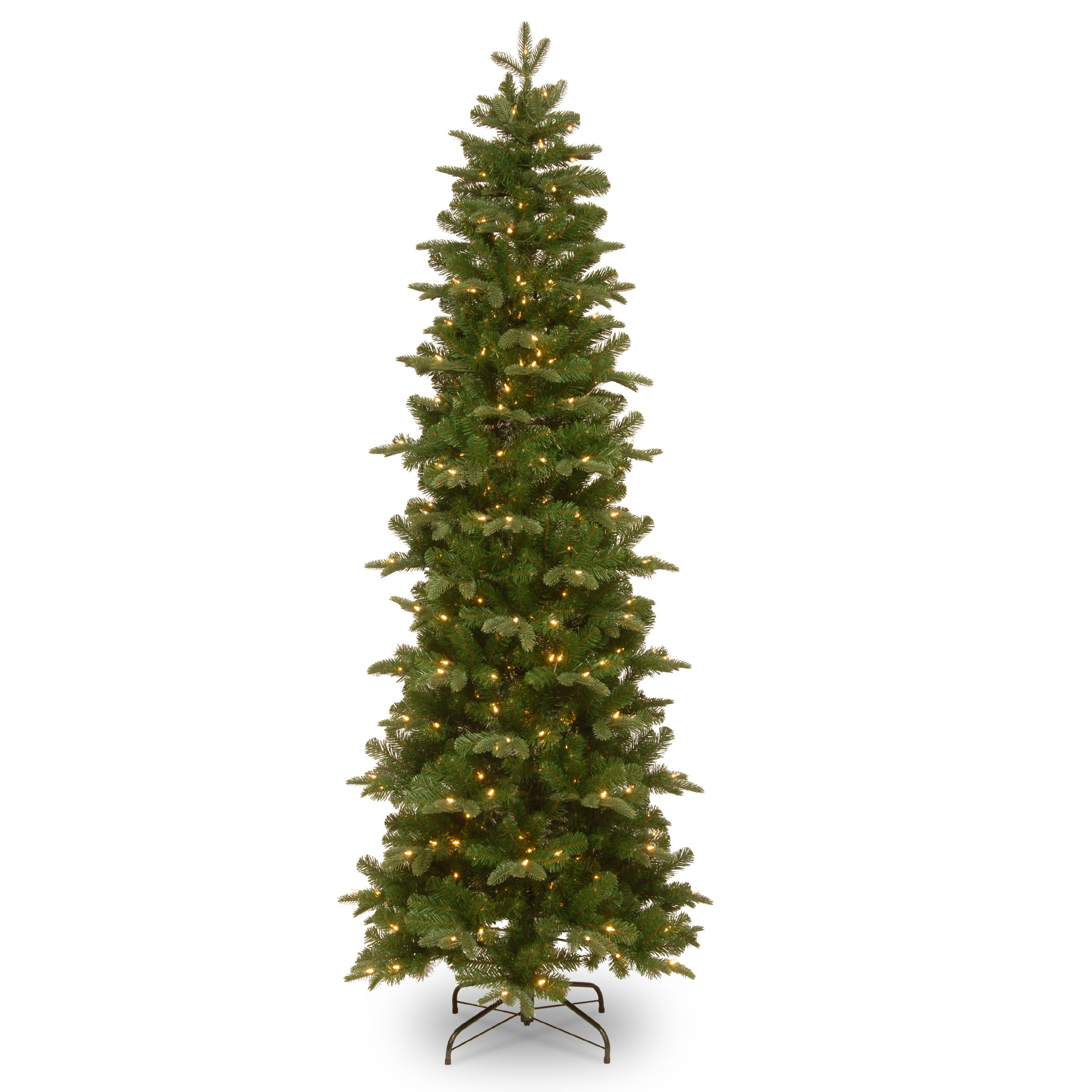 National Tree 7.5 Foot ''Feel Real'' Prescott Pencil Slim Tree with 350 Clear Lights, Hinged (PEPR4-307-75)