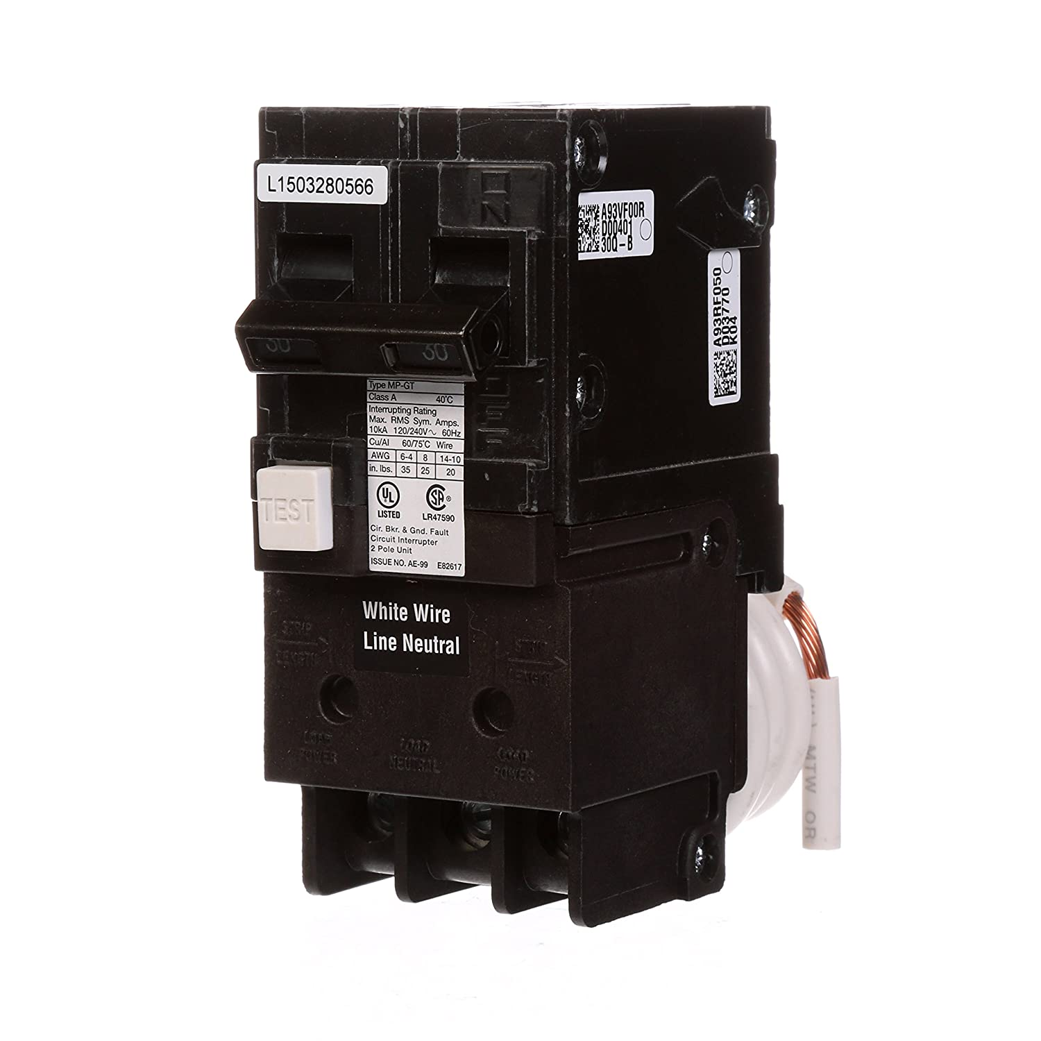 Murray MP230GFA 30 Amp 2-Pole GFCI Circuit Breaker with Self Test & Lockout Feature Siemens