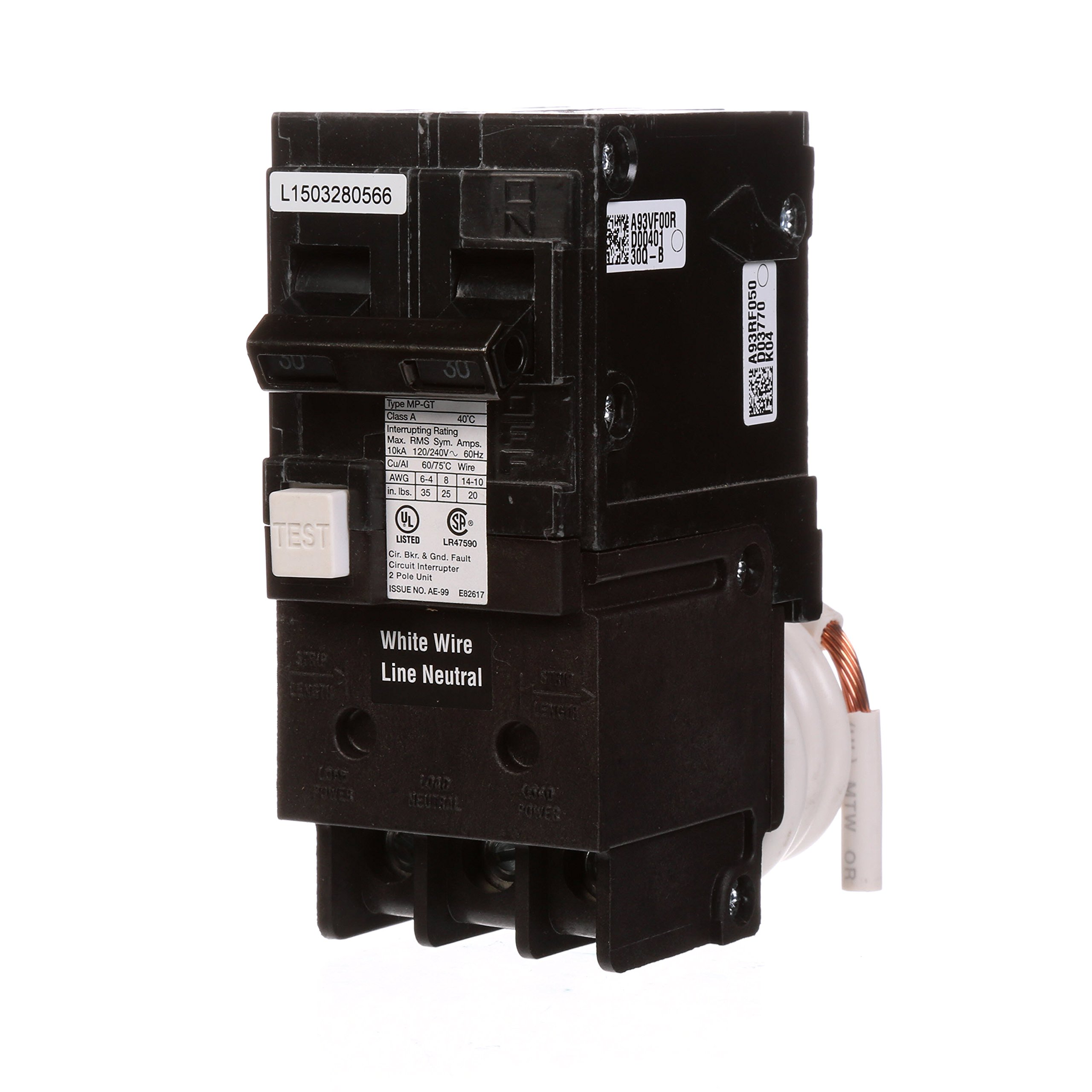 Murray MP230GFA 30 Amp 2-Pole Gfci Circuit Breaker with Self Test & Lockout Feature
