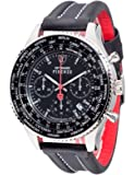 DETOMASO Firenze Xxl Men's Quartz Watch with Black Dial Chronograph Display and Black Leather Bracelet Dt1045-E
