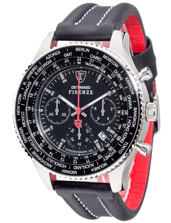 DETOMASO Herren-Armbanduhr Firenze mit silbernem Edelstahl-GehÄuse und schwarzem Zifferblatt.Klassische Herren-