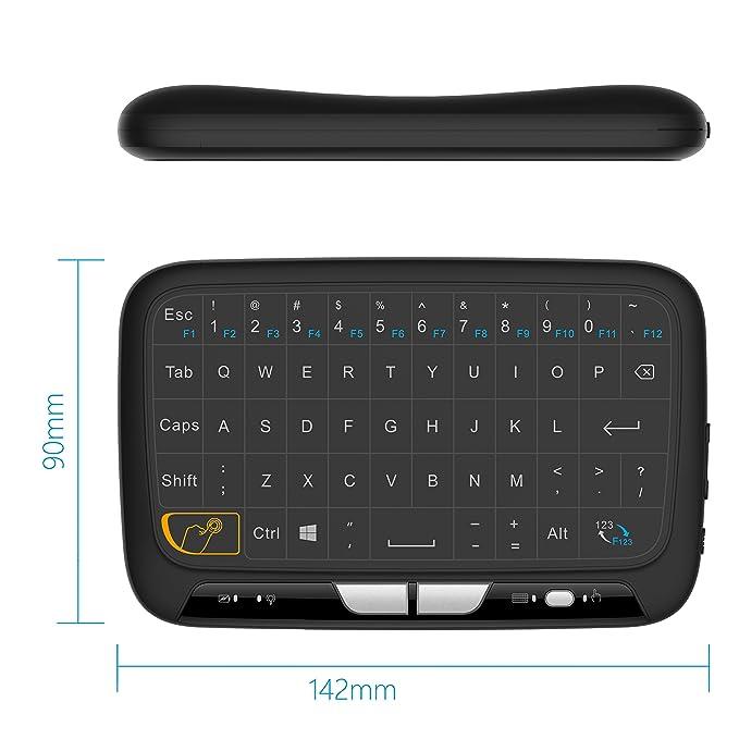 2.4Ghz portátil Mini Combo ratón inalámbrico Teclado de Todo el Panel táctil Recargable para Android/Google / Smart TV, Linux, Android TV Box, Windows PC, ...