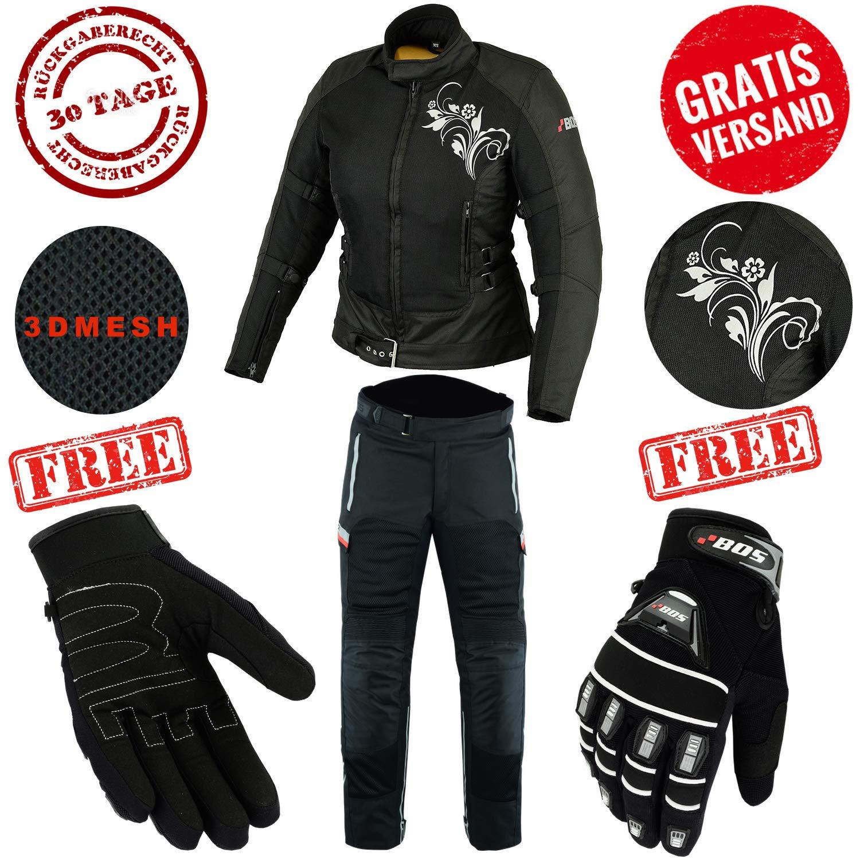 CE Protektoren XL Cordura Motorradbekleidung f/ür Sommer BOSmoto Wasserdichtes Motorrad Kombi Jacke + Hose