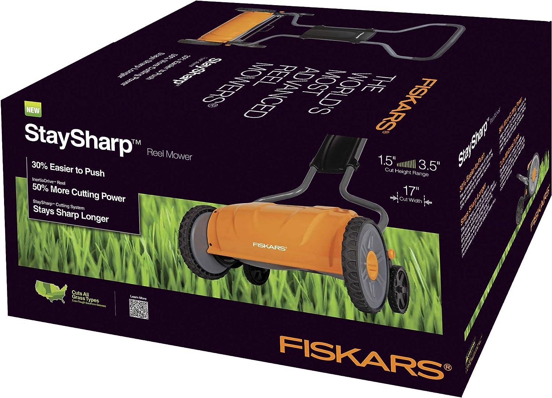 6208 Fiskars 17 Inch Staysharp Push Reel Lawn Mower Renewed