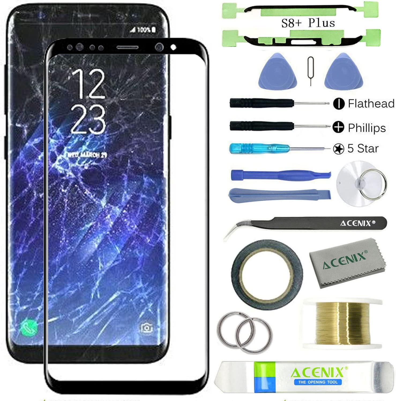 ACENIX® - Kit de reparación de lente de cristal frontal para Samsung Galaxy S8 Plus, color negro con 17 piezas de repuesto