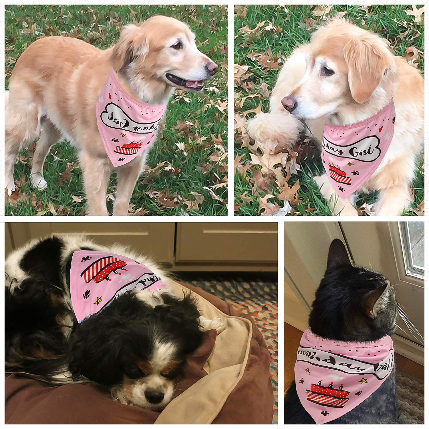 Pink Great Puppy Dog Birthday Outfit VIPITH Dog Birthday Bandana Gift and Party Decoration Set Triangle Cotton Dog Scarf with Cute Doggie Birthday Party Hat