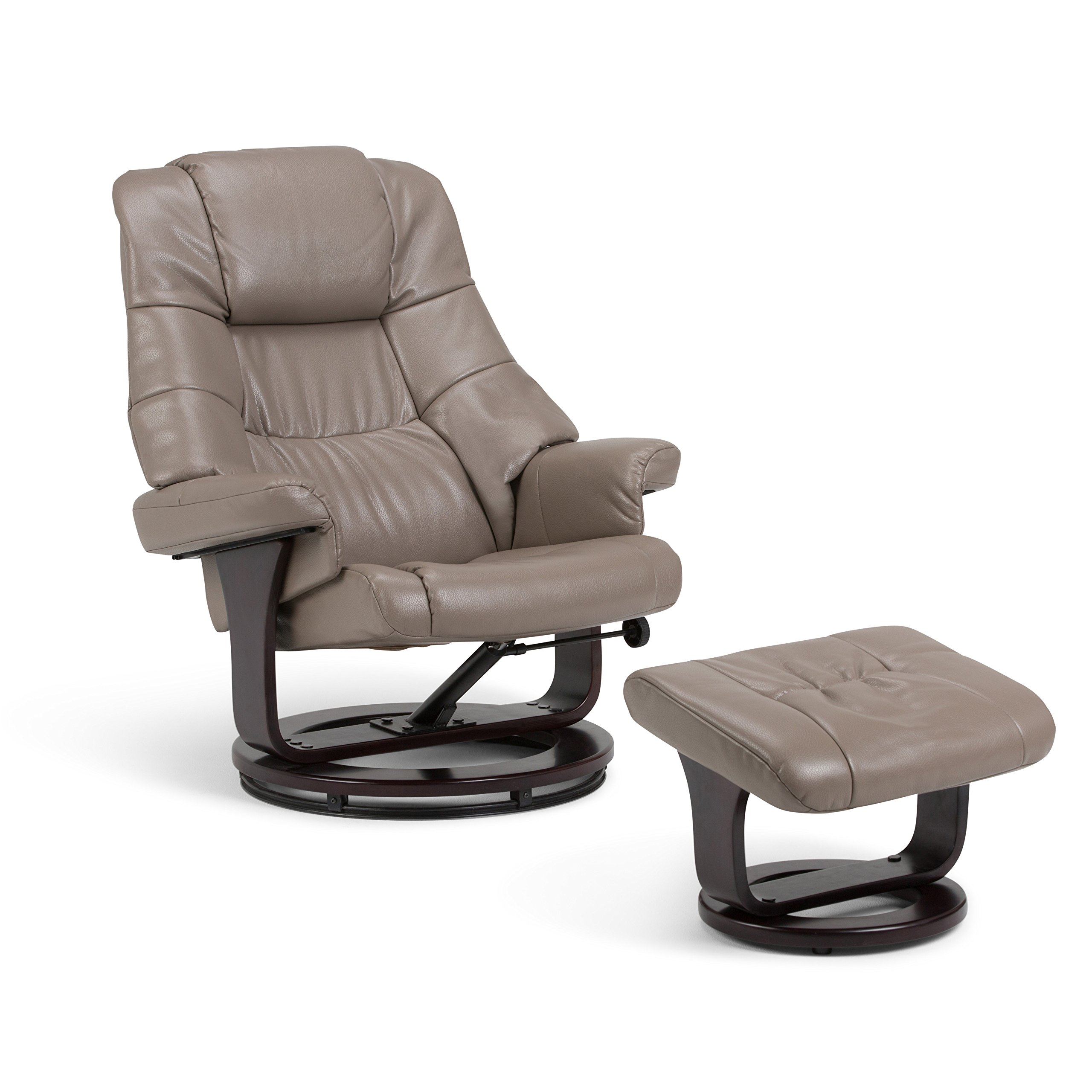 Simpli Home AXCEUREC-01 Ledi 32  inch wide Contemporary Euro Recliner in Taupe Faux Air Leather by Simpli Home