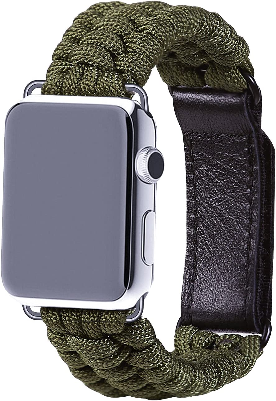 XUANTAI Paracord Apple Watch Band Compatible with 42mm and 44mm Apple Watch, Survival Gear Paracord Band with Leather Adjustable Shackle