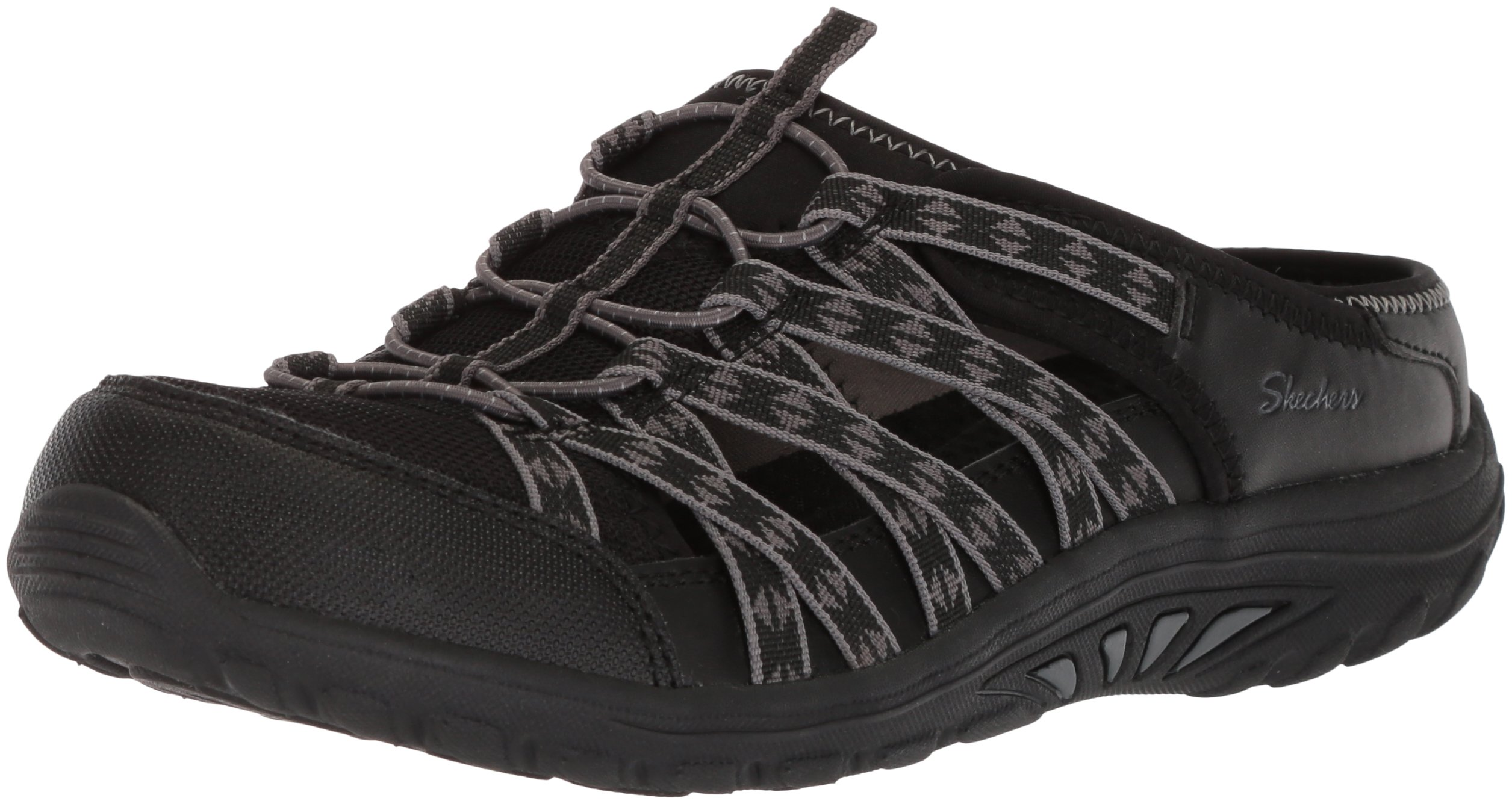 Skechers Women's Reggae Fest-Marlin-Fisherman Open Back Mule Relaxed Fit & A/C Memory Foam Water Shoe, Black, 5.5 W US