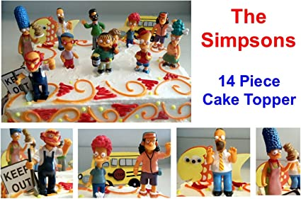 Awesome The Simpsons 14 Piece Birthday Cake Topper Set Featuring Homer Funny Birthday Cards Online Sheoxdamsfinfo