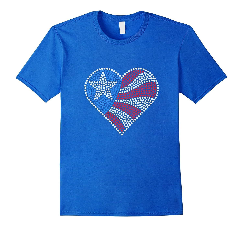 Usa flag t shirt american patriotic heart crystal design for T shirt design usa