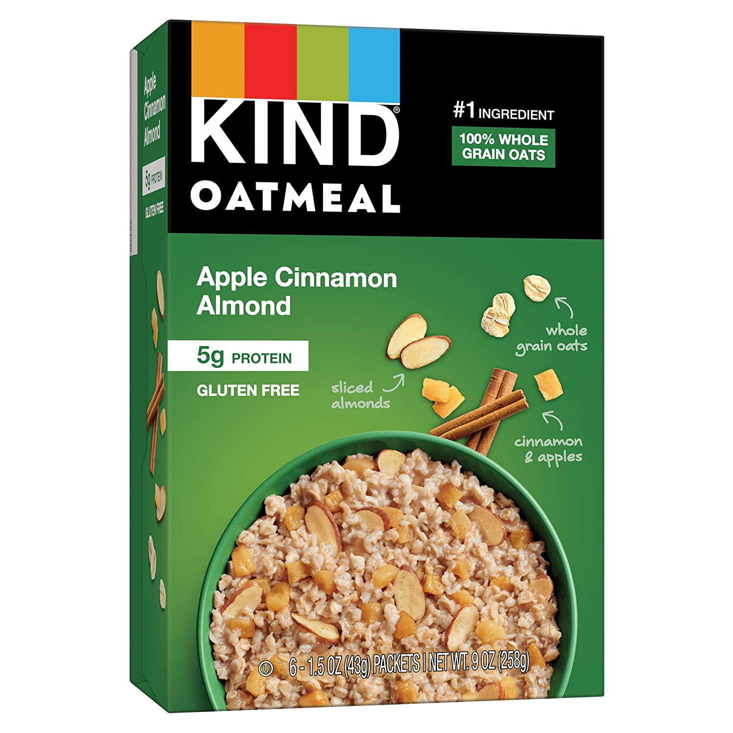 KIND Oatmeal, Apple Cinnamon Almond, Gluten Free, Low Sugar, Individual Packets, 30 Count