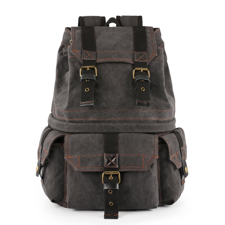 Kattee Military Style Canvas DSLR SLR Mirrorless Camera Backpack Rucksack Bag Waterproof for Sony Canon Nikon Olympus Dark Gray