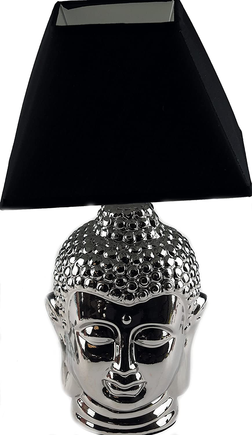 Thai buddha 35cm silver table side lamp with black shade amazon thai buddha 35cm silver table side lamp with black shade amazon kitchen home aloadofball Images