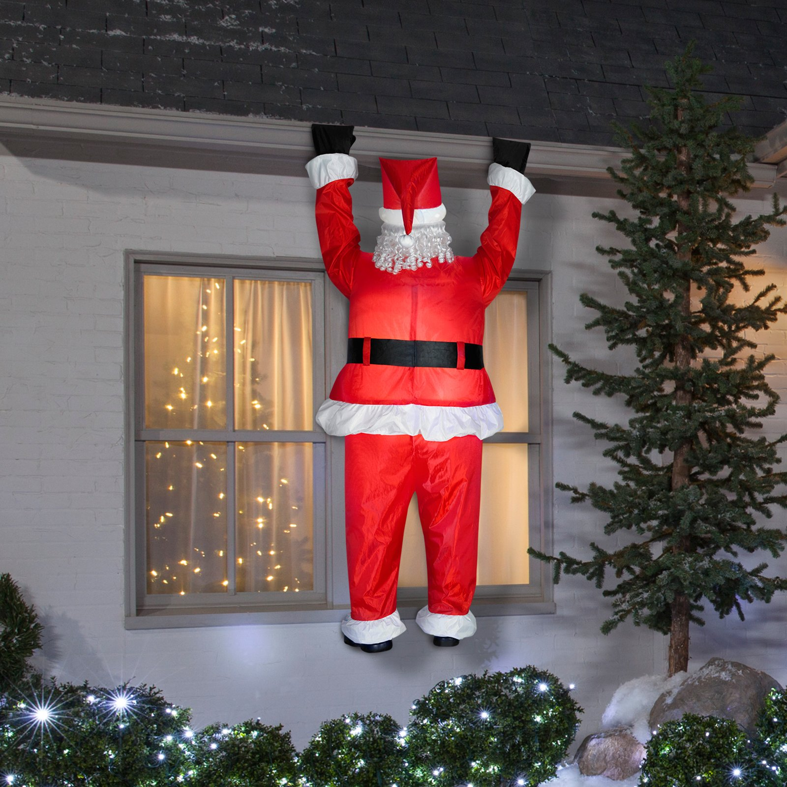 Gemmy Airblown Inflatable Realistic Santa Hanging from Gutter - Indoor Outdoor Holiday Decoration, Approximately 6.5-foot Tall by Unknown