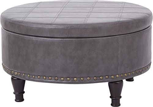 INSPIRED by Bassett Augusta Eco Leather Round Storage Ottoman with Brass Color Nail Head Trim and Deep Espresso Legs, Grey
