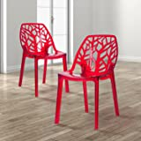 Merax Modern Dining Chair Molded Crystal Plastic Side Chair Crystal Set of 2 (Red)