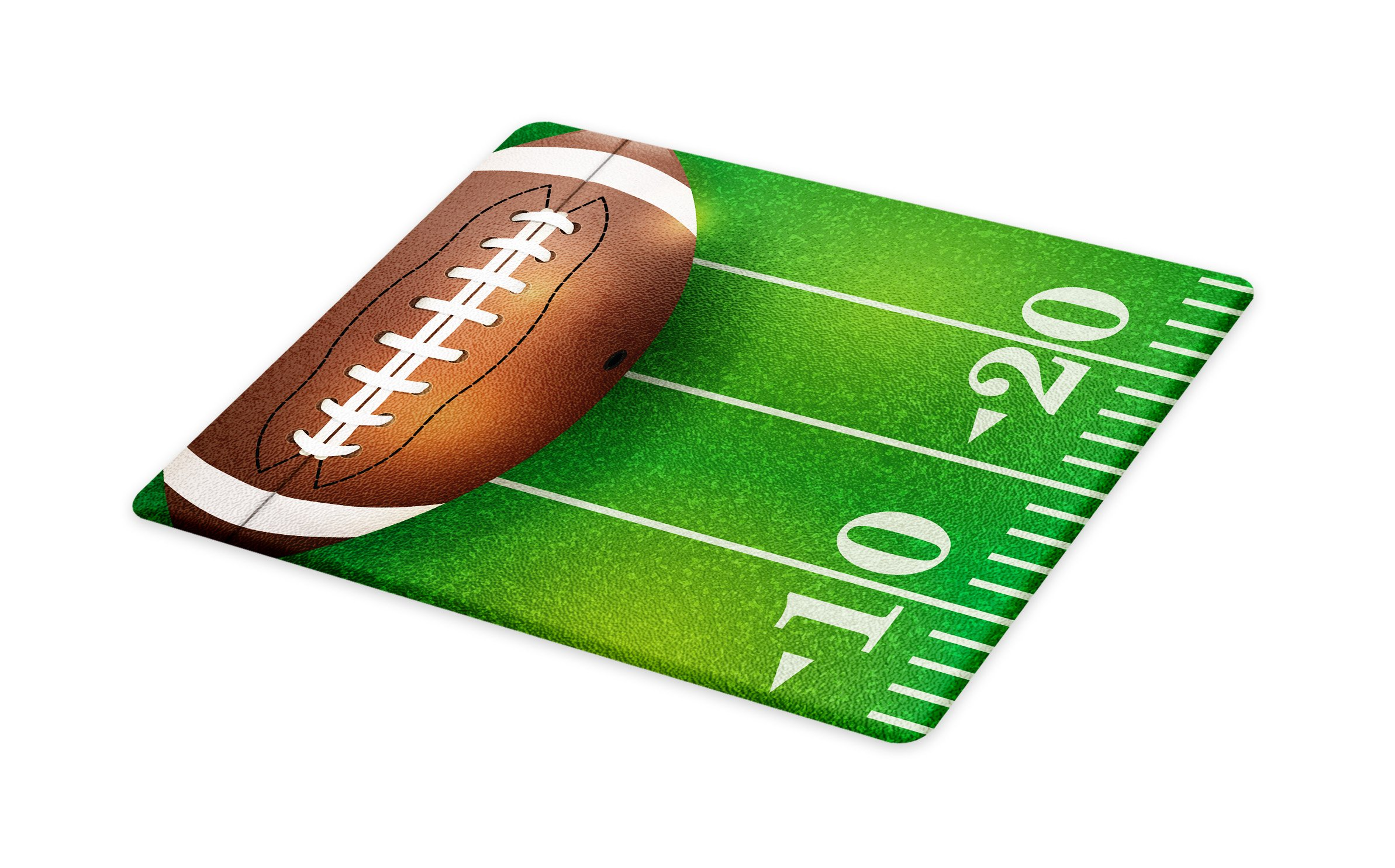 Lunarable Boy's Room Cutting Board, American Football Field and Ball Realistic Vivid Illustration College, Decorative Tempered Glass Cutting and Serving Board, Large Size, Green Brown White