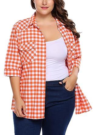 bb9f5cdd36ecc IN VOLAND Involand Women Plus Size Summer Roll Up Sleeve Boyfriend ...