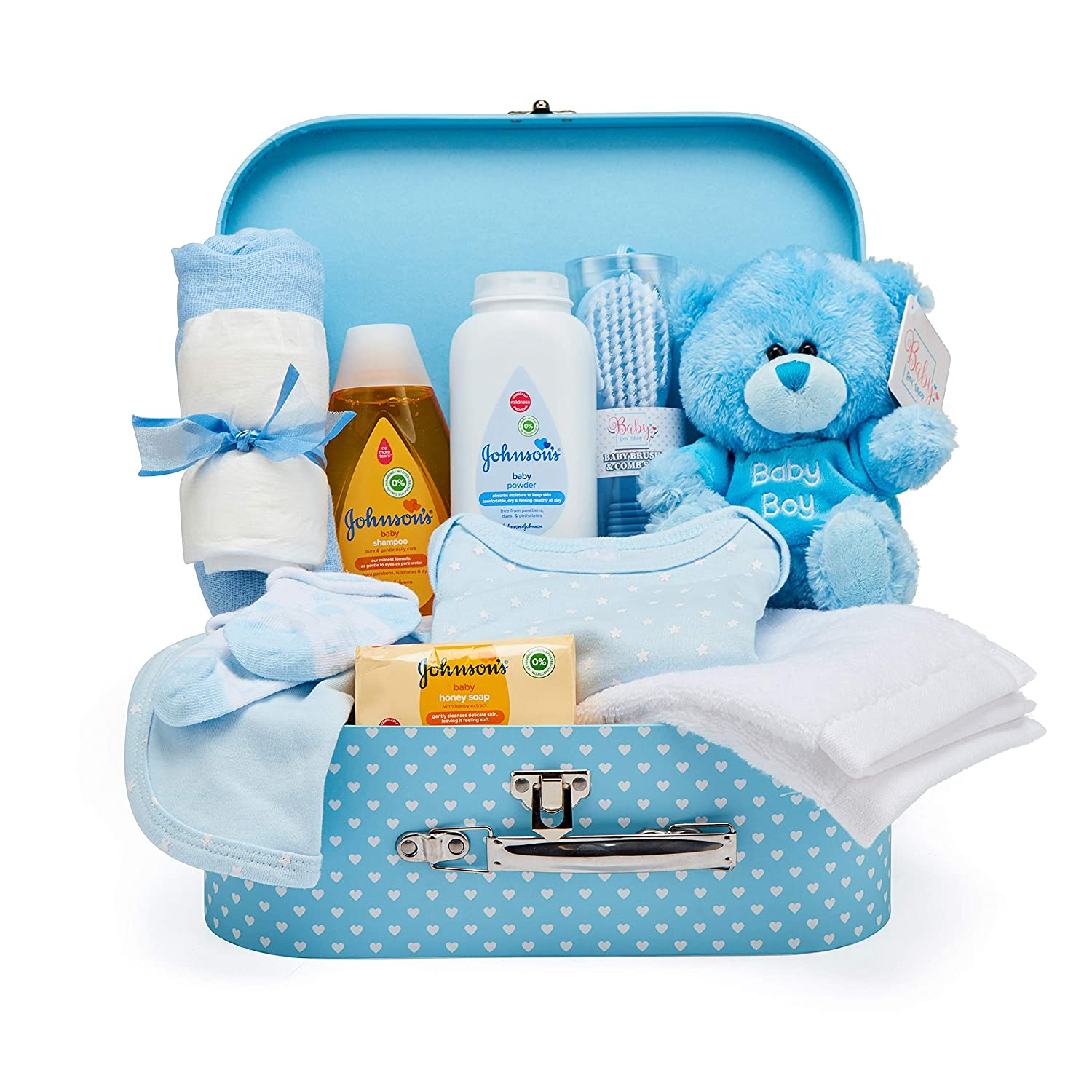 Newborn Baby Gift Set – Keepsake Box in Blue with Baby Clothes, Teddy Bear and Gifts for a New Baby Boy