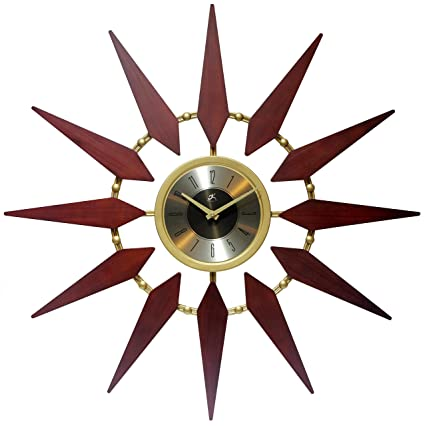 30 wall clock modern sunburst 30 inch gold and walnut midcentury modern wall clock amazoncom