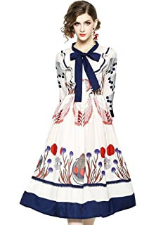 9758e56be95 LAI MENG FIVE CATS Women s Summer Floral Print Casual Boho A-line and Flare  Party