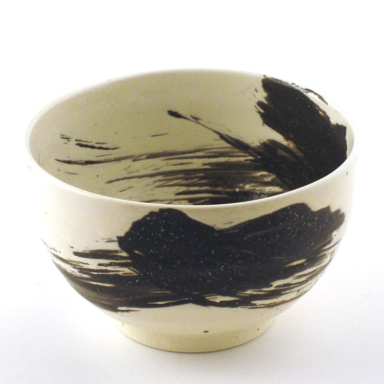 Brush Black and White Japanese Stoneware Bowls with Chopsticks Gift Set